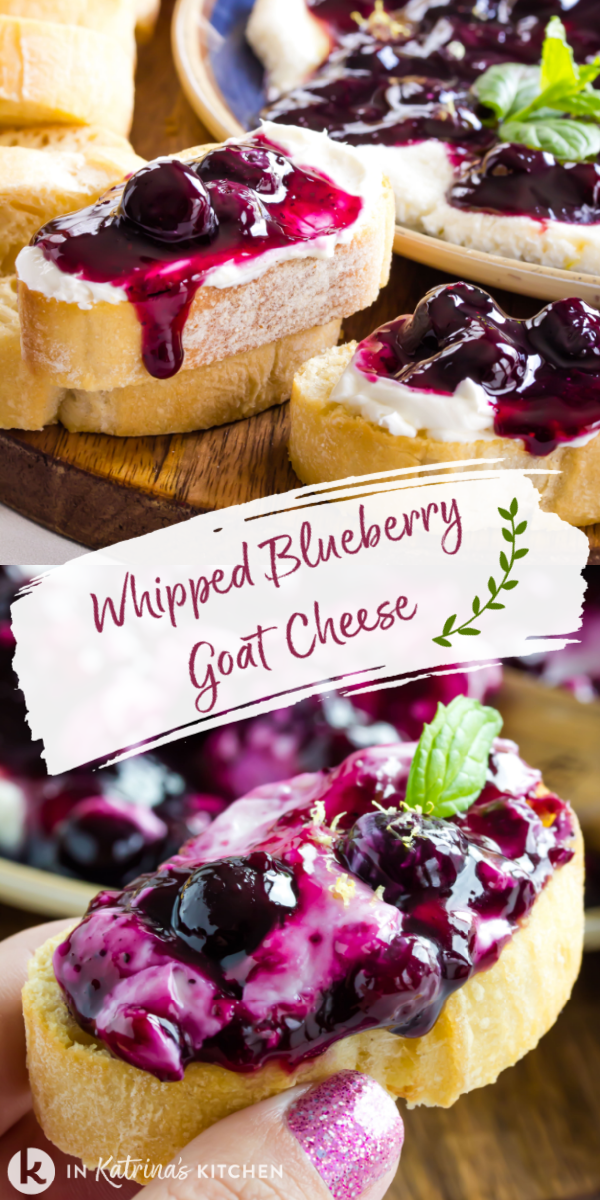 collage image of whipped blueberry goat cheese spread on top of toasted baguette slices