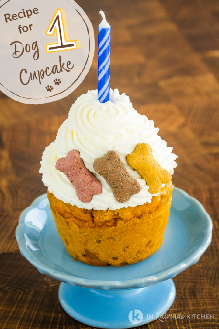 text recipe for one dog cupcake shown with candle and dog treats
