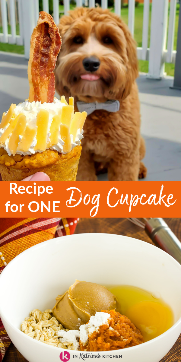No need to get out your mixer for this one bowl, 5 ingredient dog cupcake recipe. Makes one or two cupcakes.