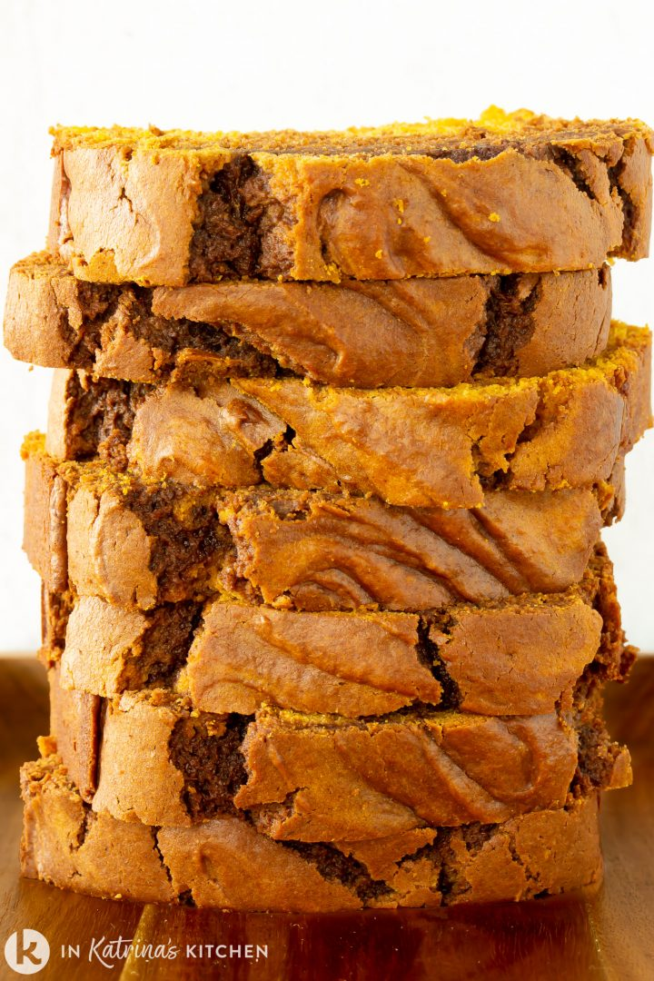 pumpkin bread sliced and stacked tall