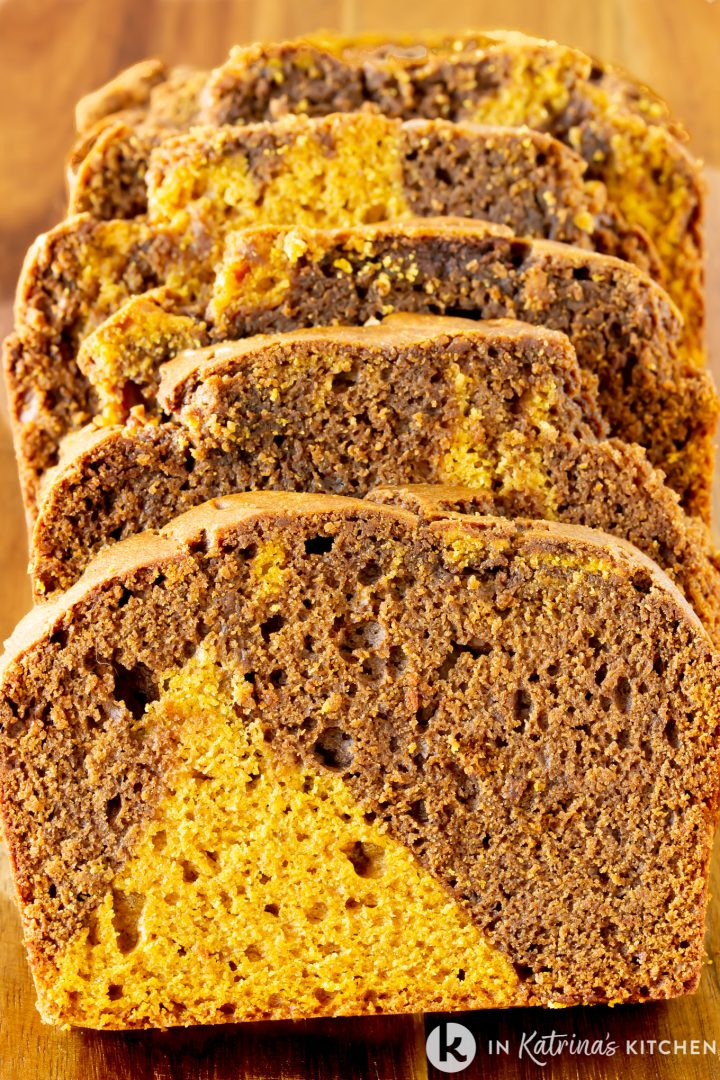 sliced bread showing swirls of chocolate and pumpkin