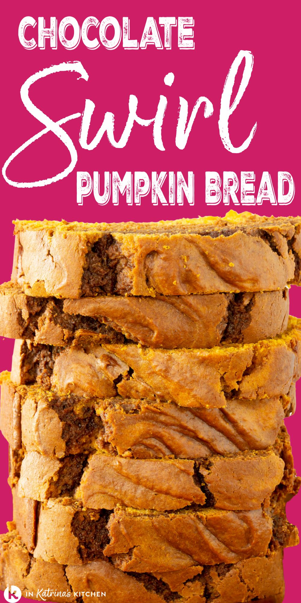 This Chocolate Swirl Pumpkin Bread recipe makes a fluffy, tender pumpkin bread loaf swirled with rich, fudgy chocolate layers. You can grab a slice as you're running out the door, or you can tuck a slice into your lunch box. Enjoy it with a cup of afternoon tea, or with some hot cocoa after dinner. Get the full recipe and PRO TIPS at In Katrina's Kitchen.