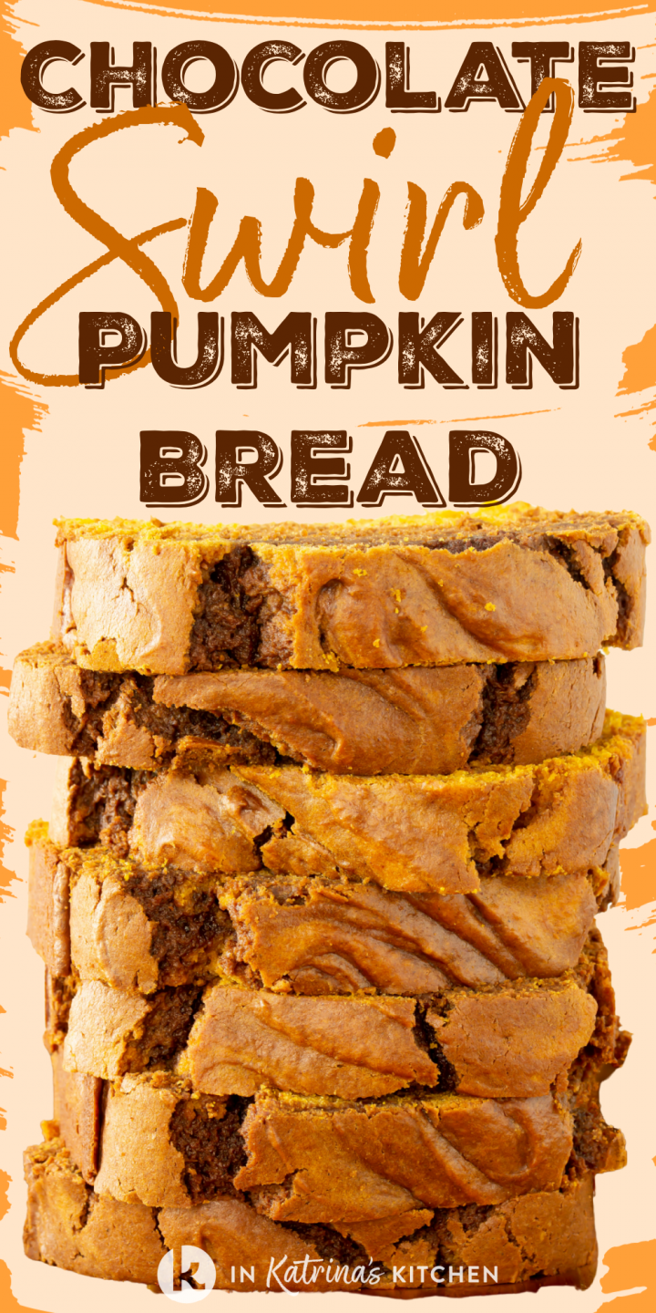 quick bread sliced and stacked tall with the text chocolate swirl pumpkin bread on an orange background