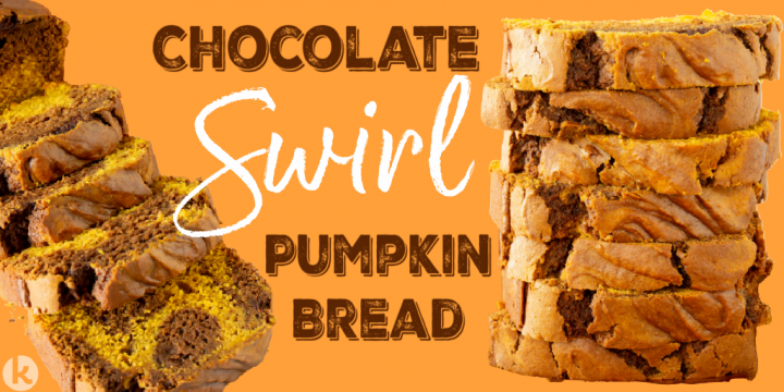 sliced and stacked bread shown with the text chocolate swirl pumpkin bread on an orange background