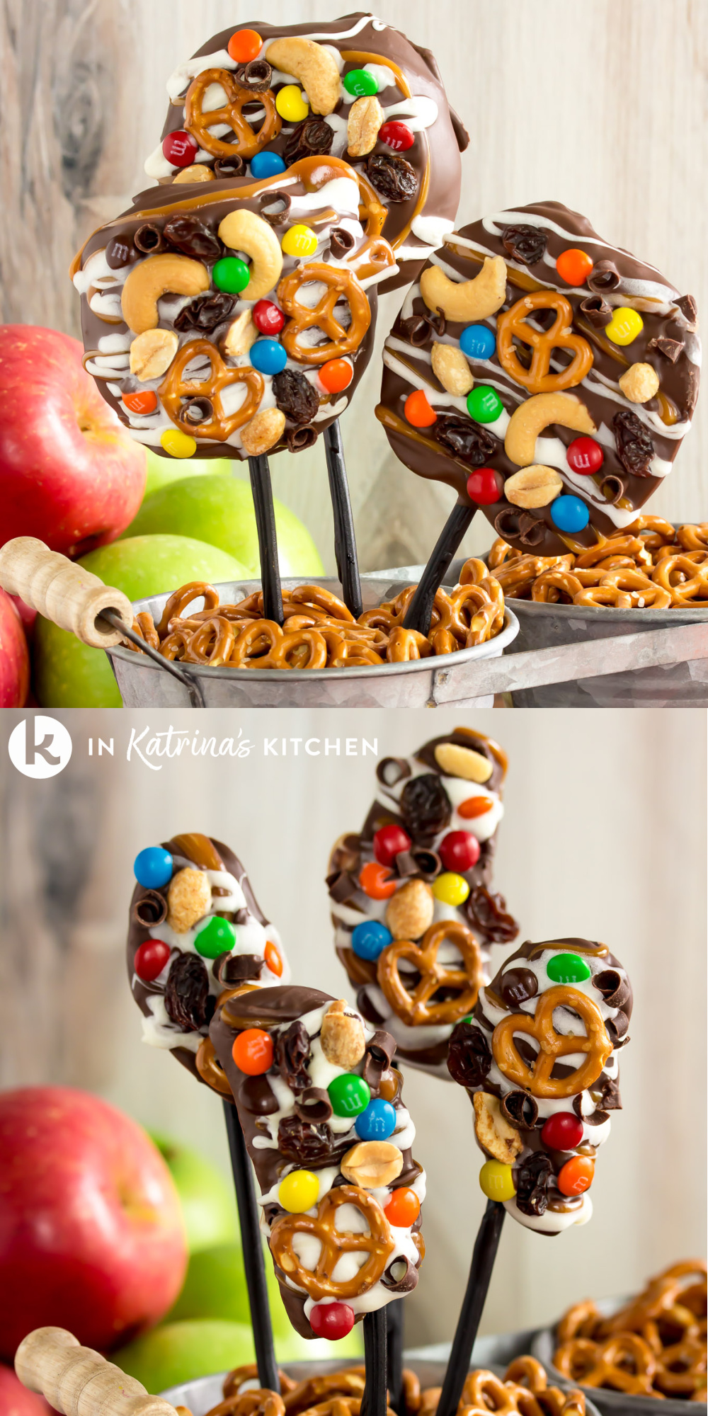 Any way you slice it, these Trail Mix Caramel Apples are a must-make this Fall! PRINT and PIN the full recipe and tutorial at In Katrina's Kitchen today!