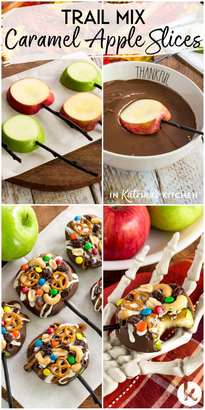 collage showing four images of the process of making caramel apples topped with candy, raisins, and nuts