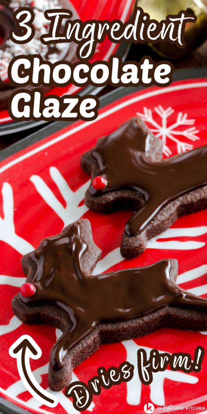 two reindeer cookies with chocolate glaze and red nose