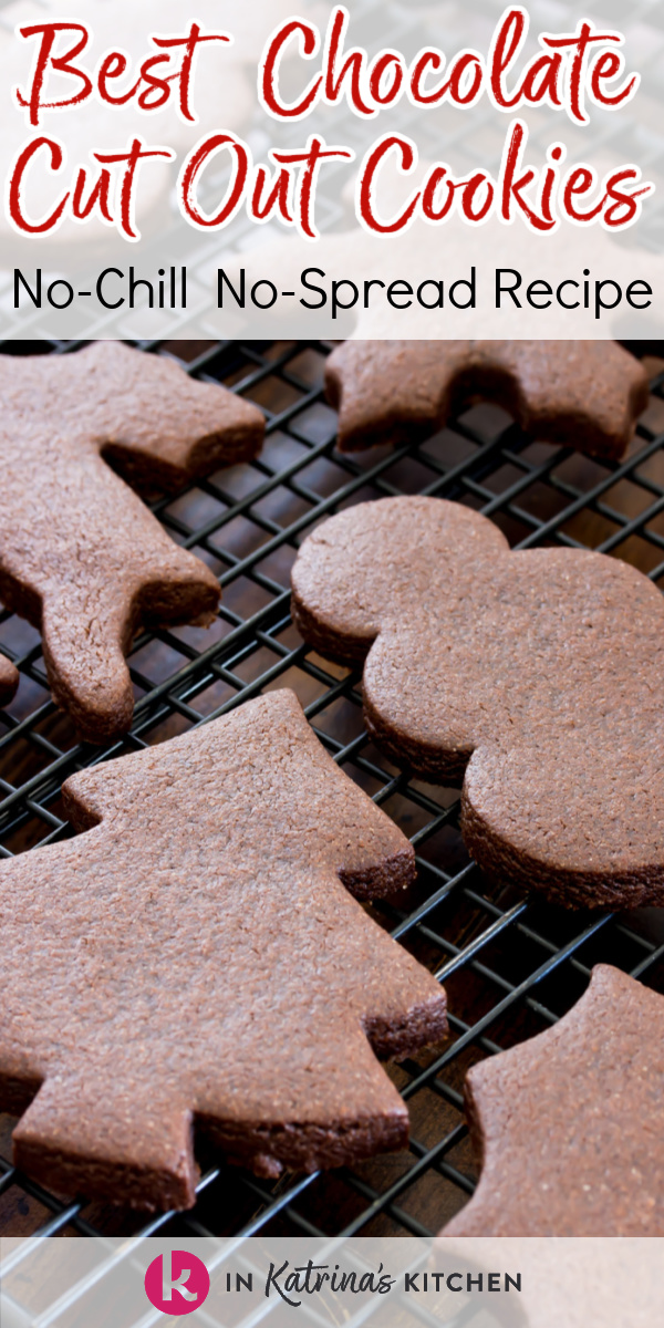 chocolate cut out cookies on a cooling rack with the text best chocolate cut out cookies