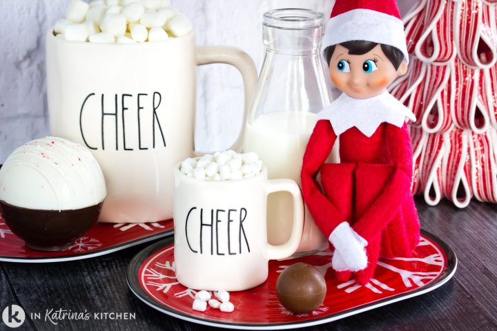 mini and regular size hot chocolate truffle with mug and elf