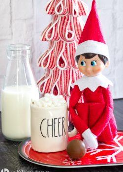 mini truffle and hot chocolate mug, milk and Christmas elf