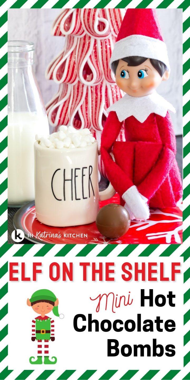 elf shown with mini hot chocolate mug and truffle