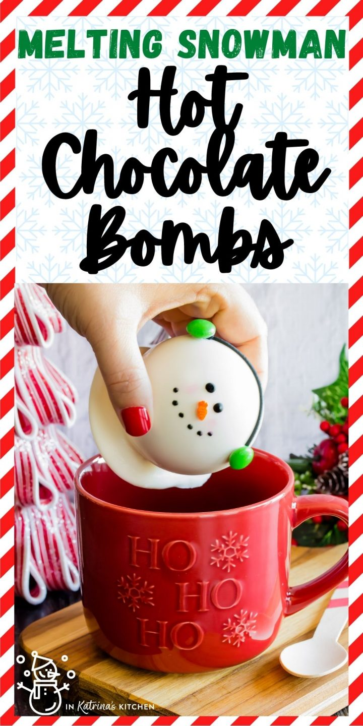 melting snowman hot chocolate bomb being dropped into a red mug