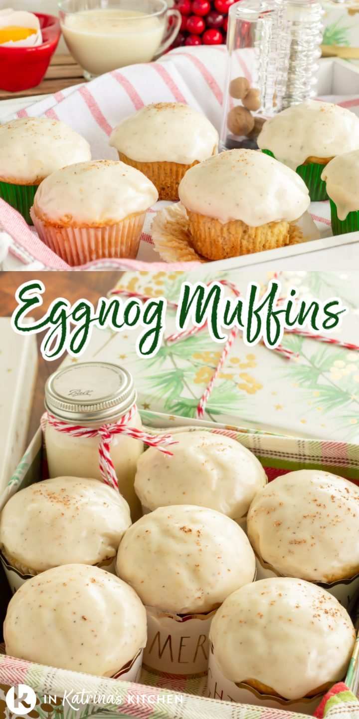 "collage image with a serving tray of glazed muffins and a gift box packaged with muffins with the text, ""Eggnog Muffins."""