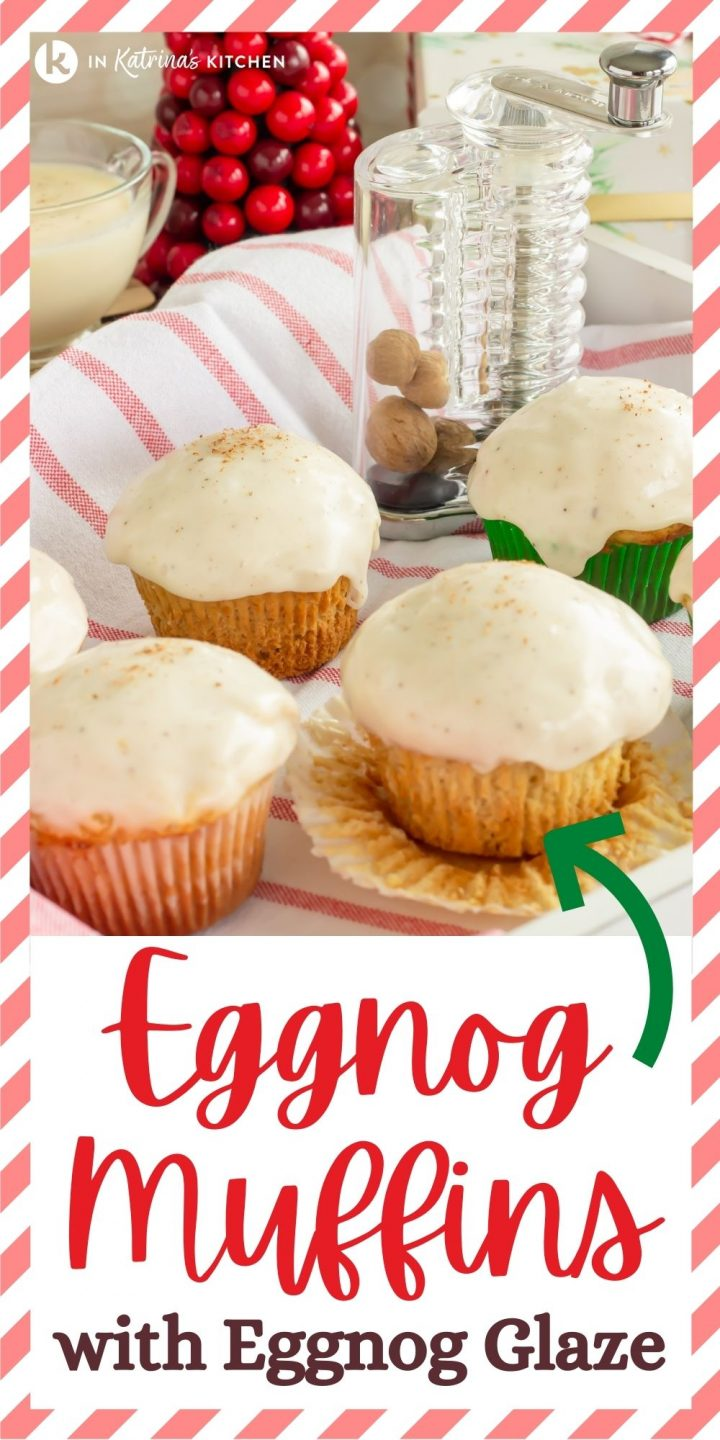 "four glazed muffins in a gift box with the text, ""Eggnog Muffins with Eggnog Glaze"""
