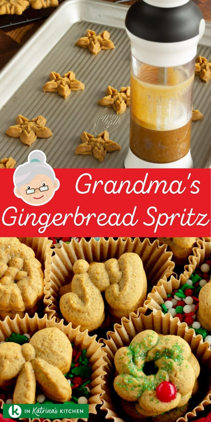 star shaped cookies on a cookie sheet with a spritz cookie gun and the text Grandma's Gingerbread Spritz