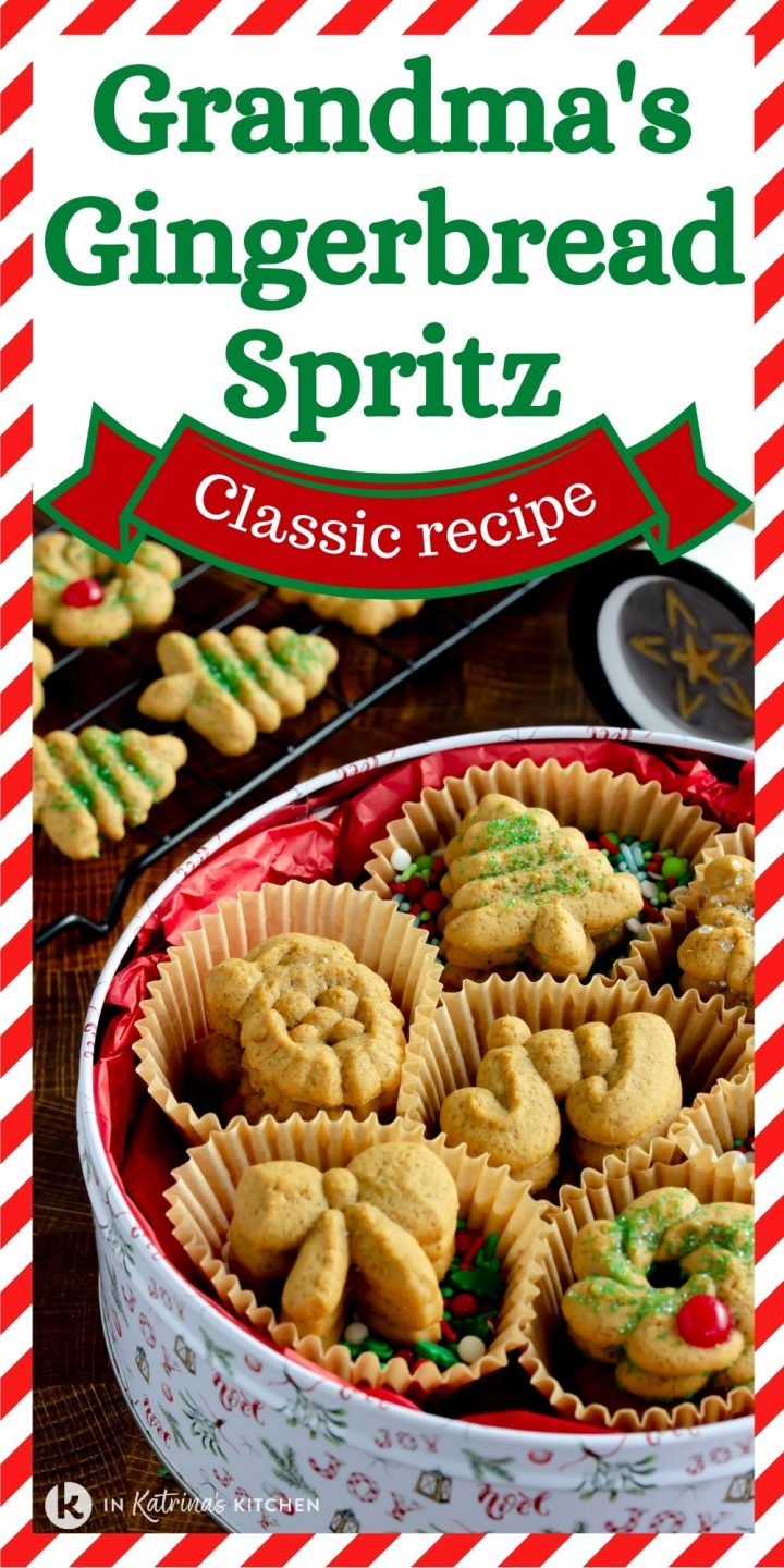 cookies in an old fashioned tin with the text grandma's gingerbread Spritz classic recipe