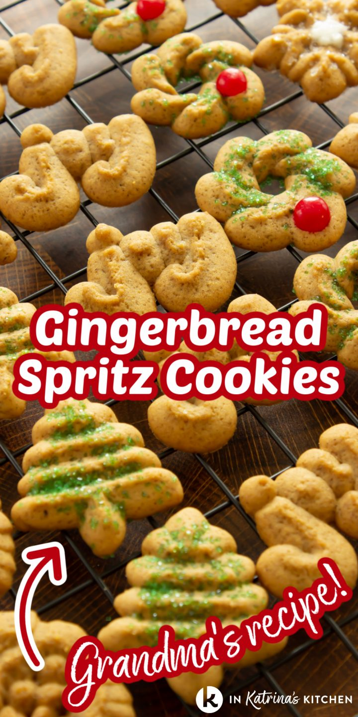 cookies cooking on a wire baking rack with the text gingerbread spritz cookies grandma's recipe