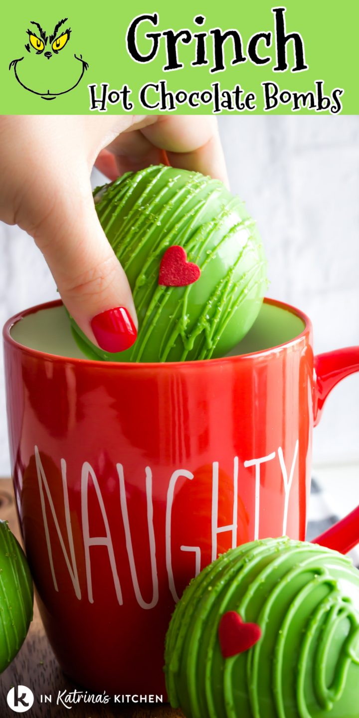 green hot chocolate bomb with a heart candy being placed into a red mug that says naughty