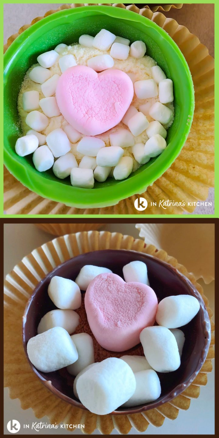 inside of hot chocolate bombs with a pink heart marshmallow and mini marshmallows