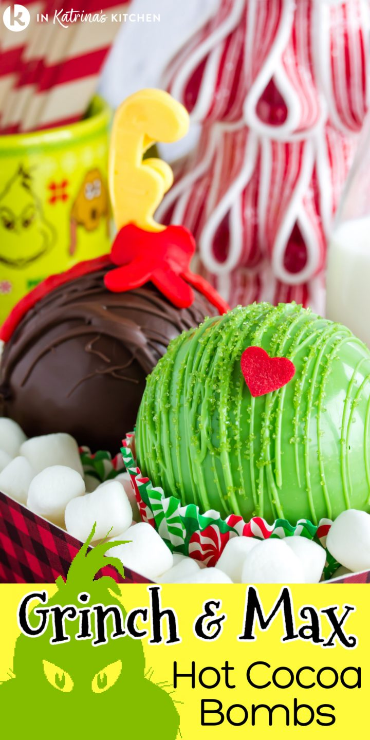 hot chocolate bombs made to look like Grinch and Max from the animated movie- green with a heart and brown with an antler and bow