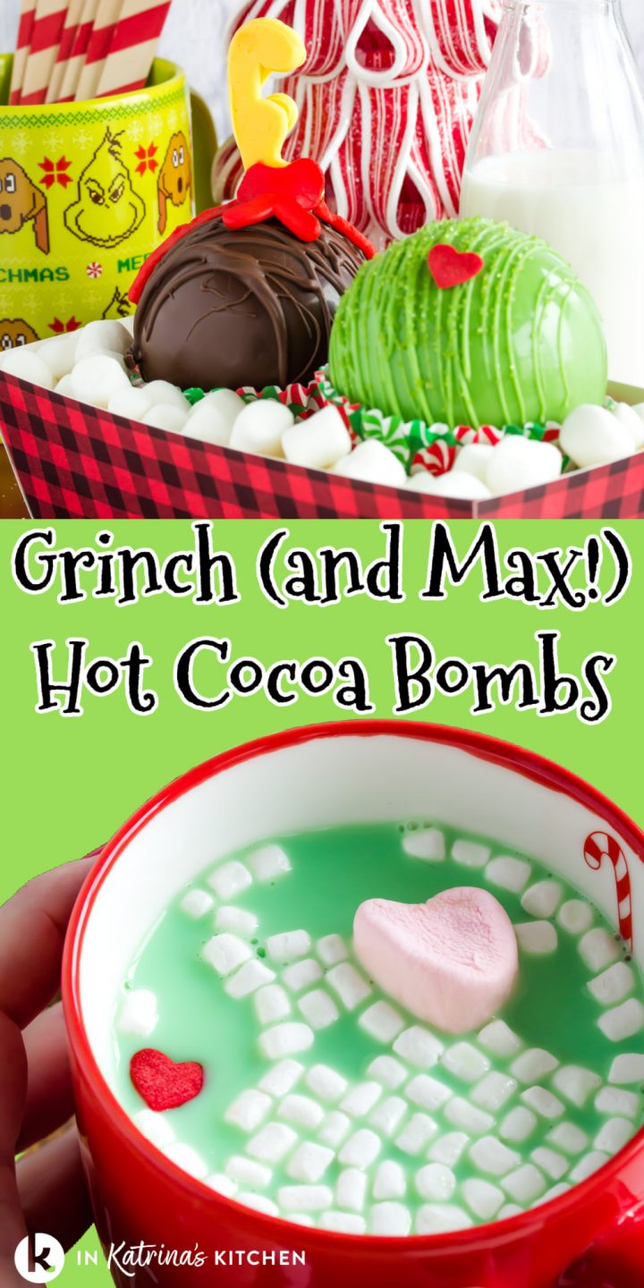 hot chocolate bombs made to look like grinch movie characters and a red mug of green hot chocolate with marshmallows and heart candy