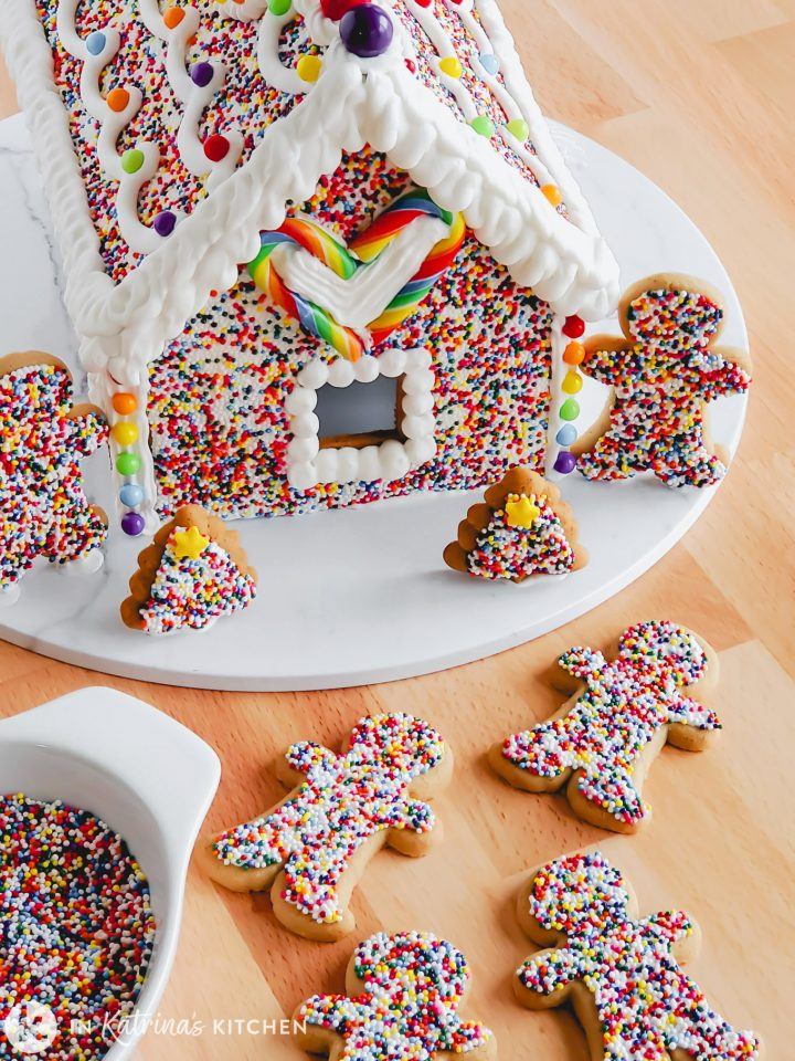 gingerbread house and gingerbread men covered in rainbow sprinkles