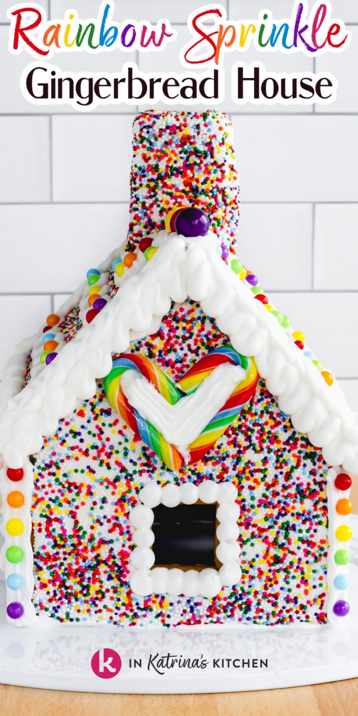 gingerbread house covered in rainbow sprinkles