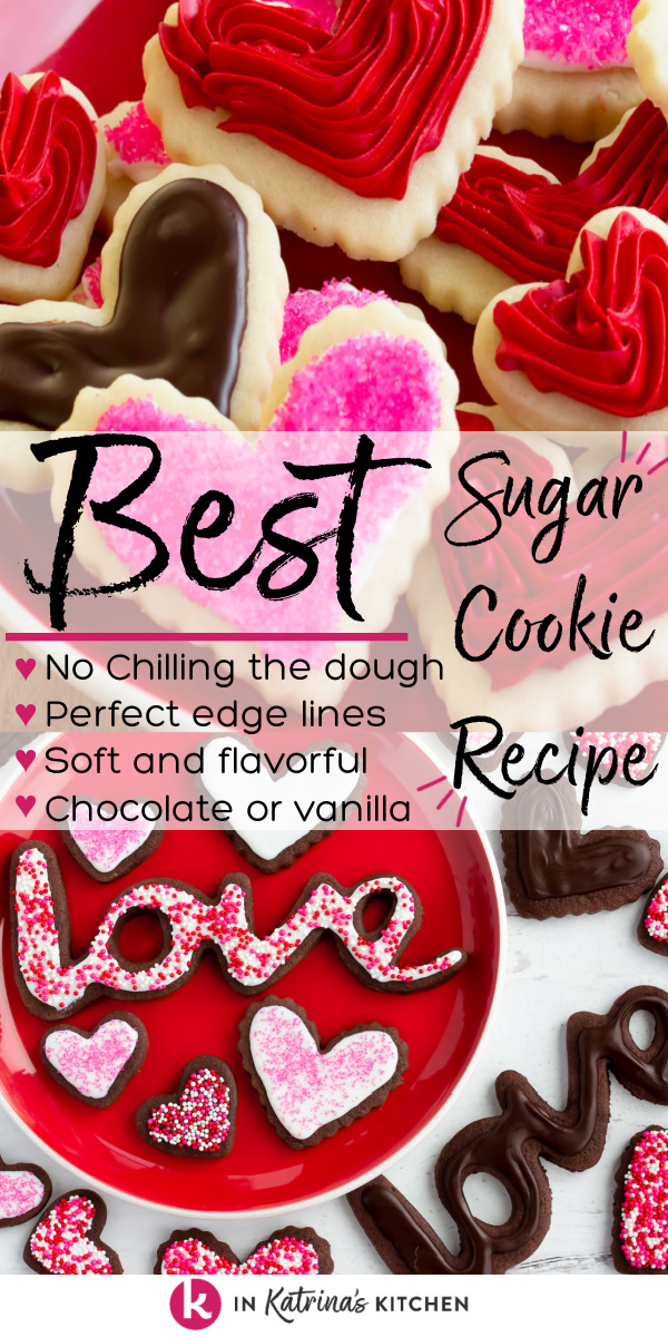 heart-shaped chocolate and vanilla frosted cookies with the text Best Sugar Cookie Recipe