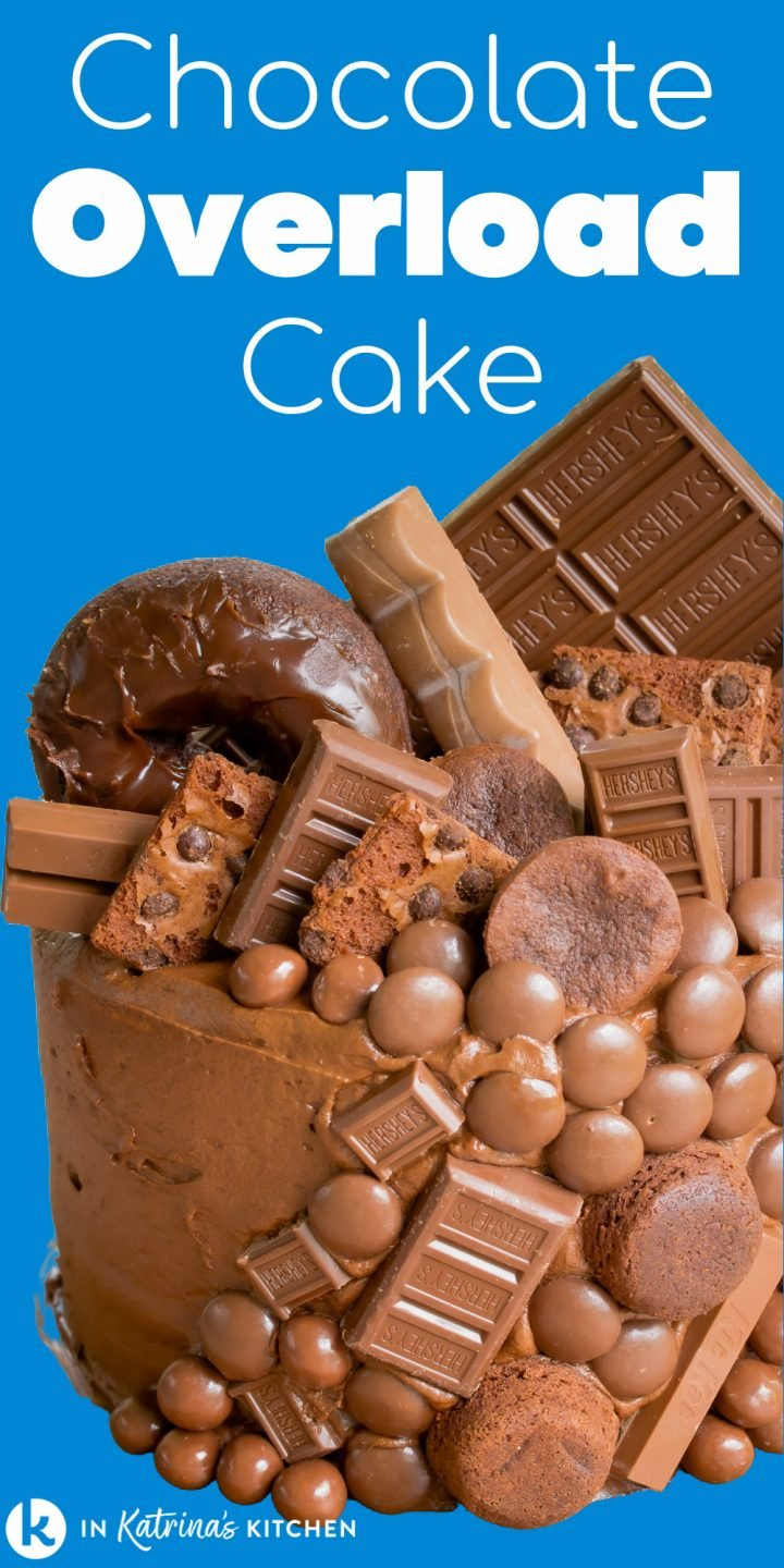 chocolate overload cake text on a blue background with a close up image of cake with variouscandies