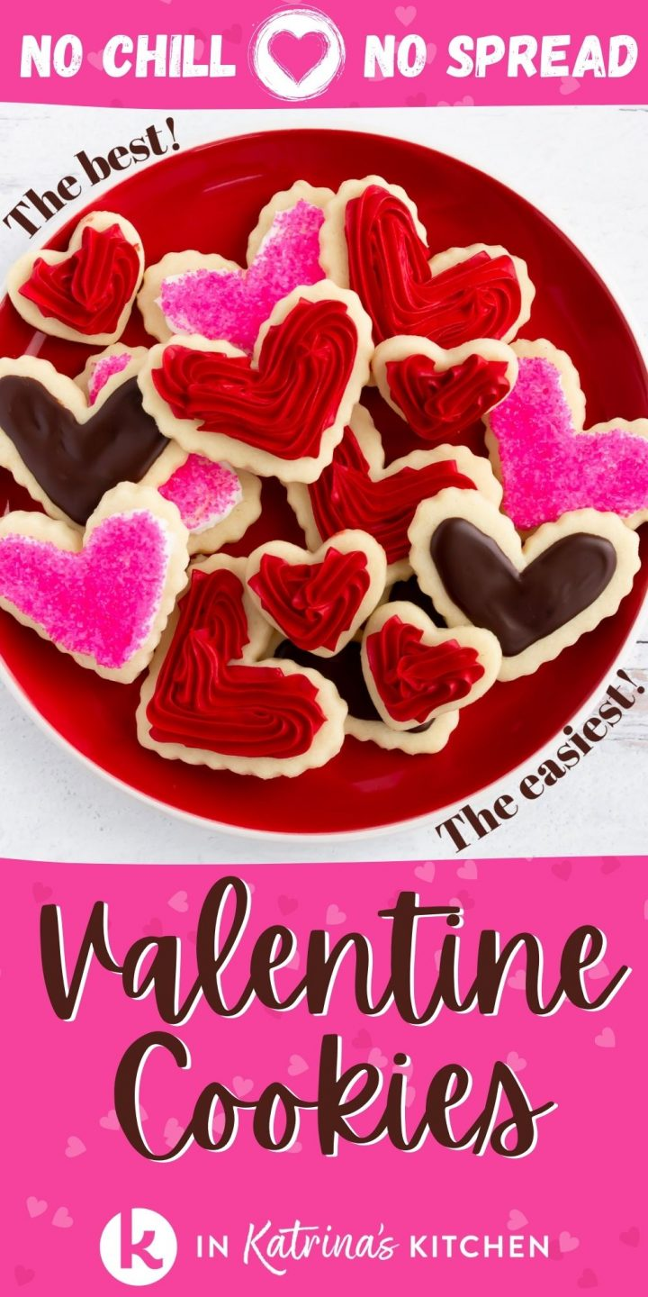 heart-shaped frosted cookies on a red plate with the text no chill no spread valentine cookies