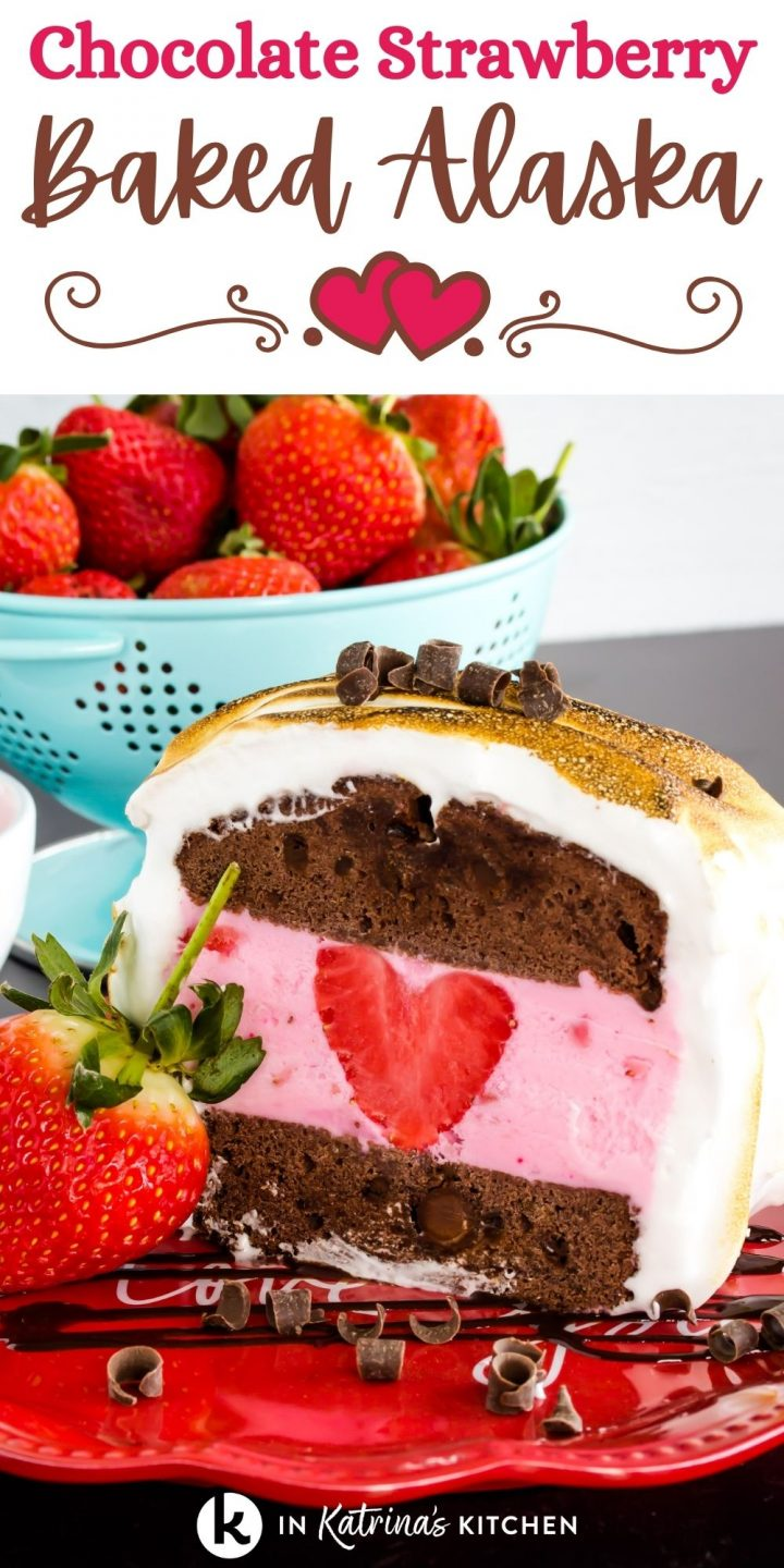 chocolate pound cake with a strawberry heart inside with the text chocolate strawberry baked alaska