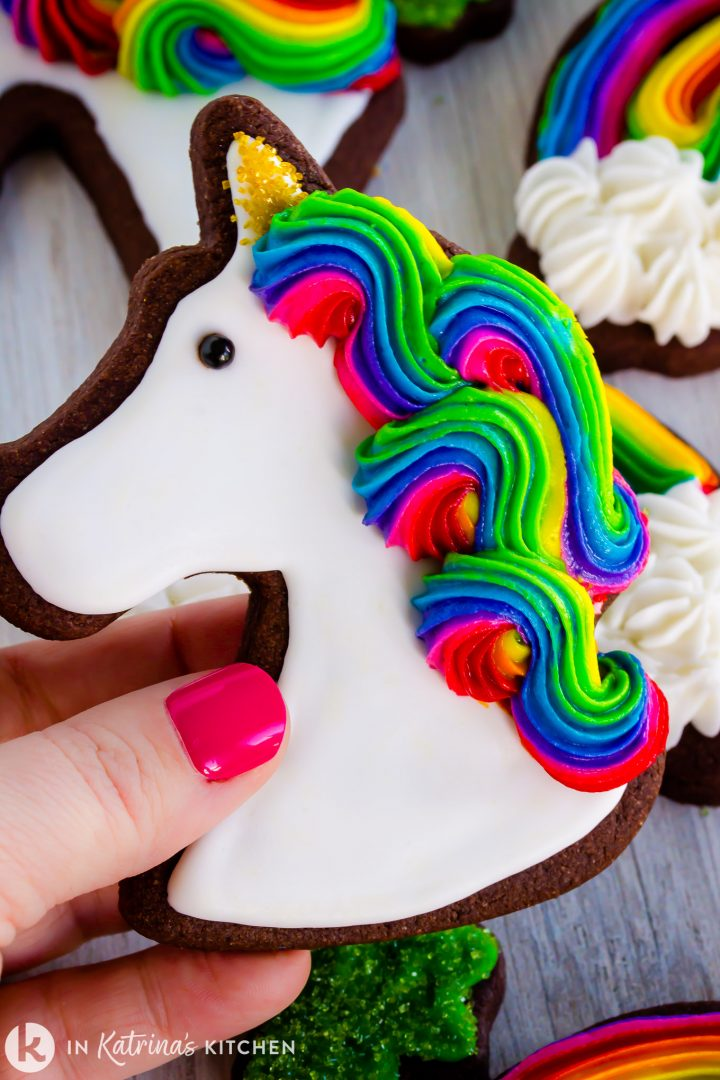 female had holding a chocolate cookie in the shape of a unicorn with swirled rainbow frosting