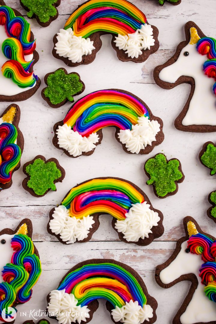 chocolate cut out rainbow cookies with four leaf clover and unicorncookies