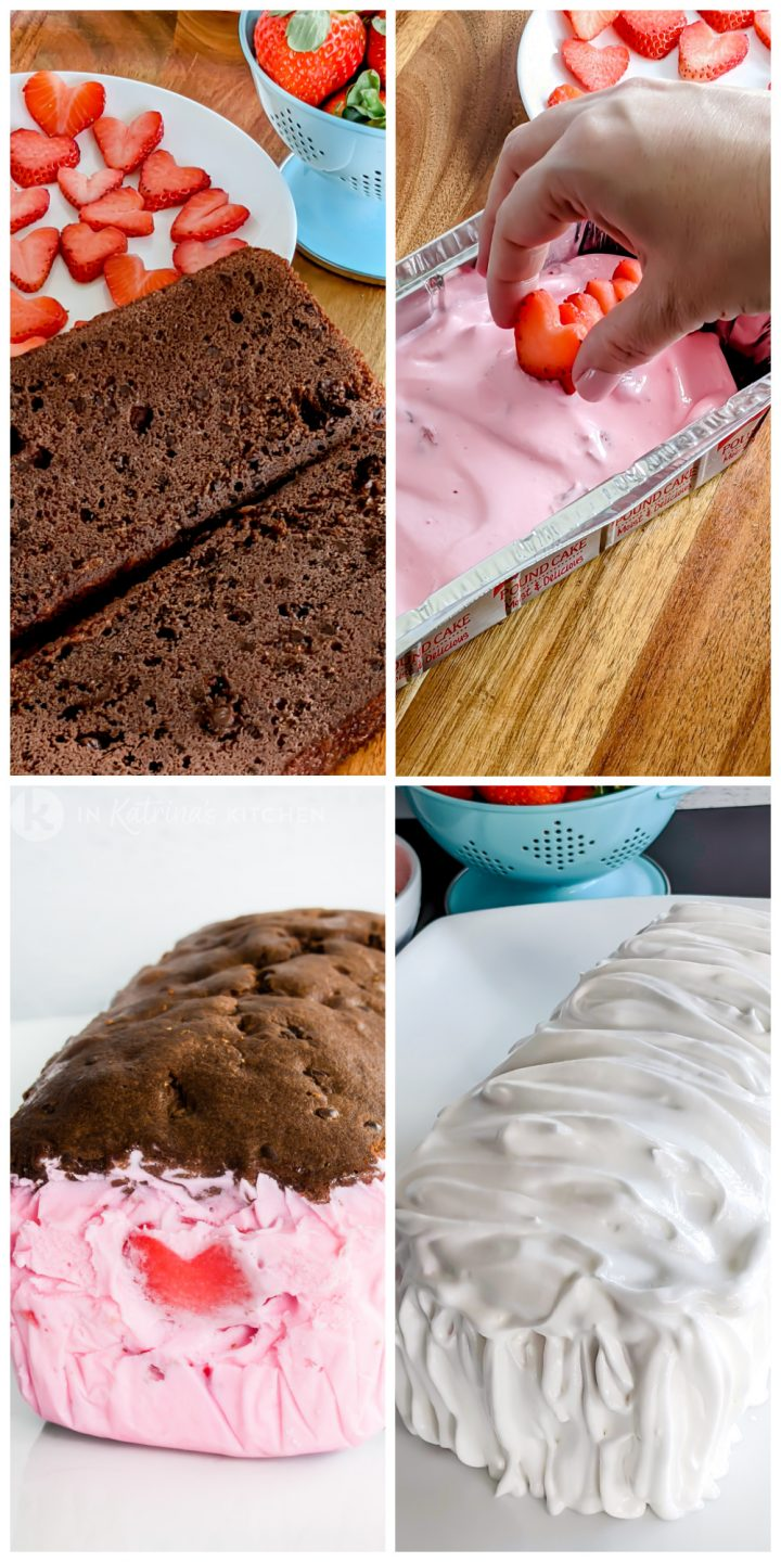 4 photos showing how to fill and prepare baked alaska dessert