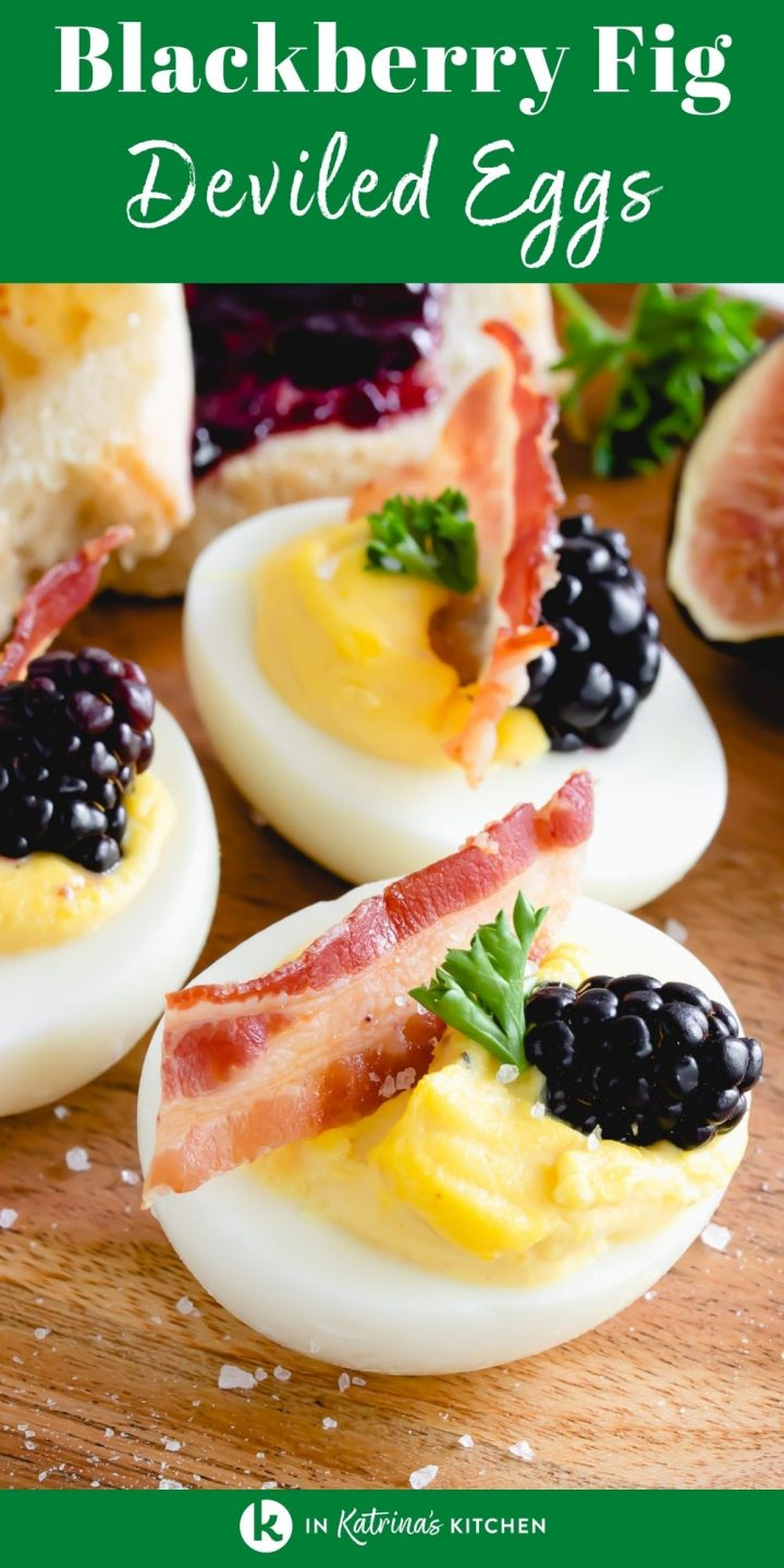a wooden plate holding three deviled eggs with bacon, figs, and blackberries with the text saying blackberry fig deviled eggs