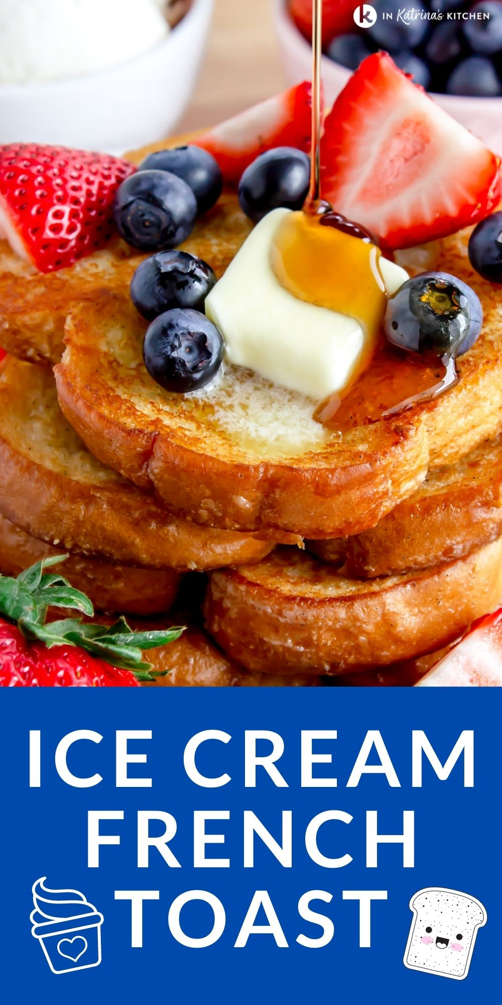 This Ice Cream French Toast uses melted ice cream as a custard base for the most tender and delicious French toast you'll ever taste. PRINT and PIN the recipe at In Katrina's Kitchen.