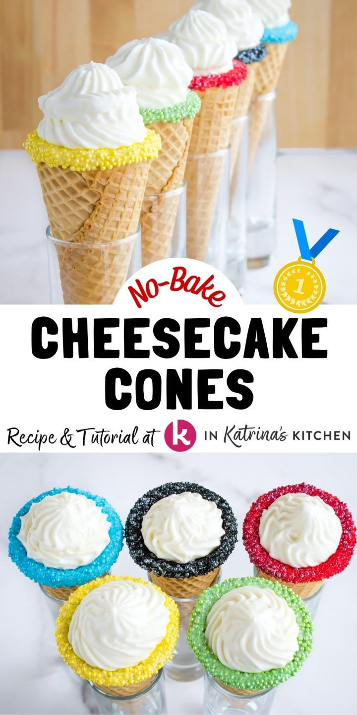 TOP- waffle cones with colored rims all lined up BOTTOM- cones full of cheesecake and rims colored to look like the Olympic rings